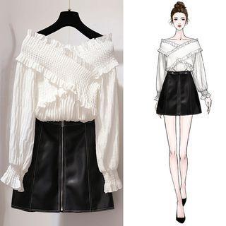 Set: Long-sleeve Frill-trim Top + A-line Mini Skirt