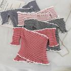Off-shoulder Striped Crop Knit Top