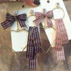 Plaid Ribbon Non-matching Earrings
