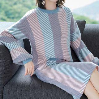 Set: Woollen Striped Sweater + Knit Skirt