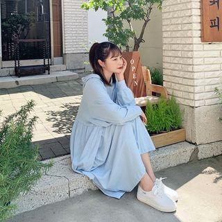 Shirred Oversized Midi Hoodie Dress