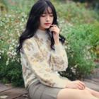 Floral Print Mock-neck Sweater