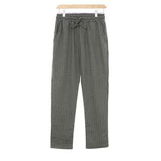 Drawstring-waist Pinstriped Pants Gray - One Size