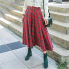 Belted Plaid Long Flare Skirt