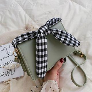 Faux Leather Gingham Bow Flap Crossbody Bag