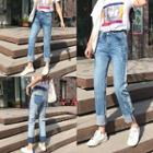 Two-tone Washed Jeans