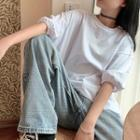 Puff-sleeve T-shirt White - One Size