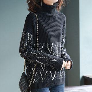 Plaid Long-sleeve Knit Midi Dress Black - One Size