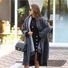 Single-breasted Wool Blend Coat Dark Gray - One Size
