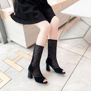 Block Heel Sequined Open Toe Knee-high Boots