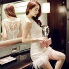 Fringed Sleeveless Lace Dress