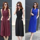 V-neck Tie-waist Sleeveless Midi Dress