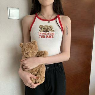 Bear Camisole Top White & Red - One Size