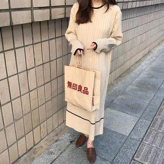 Long Sleeve Striped Knitted Midi Dress