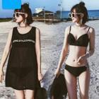 Set: Lettering Bikini + Cover-up Tank Dress