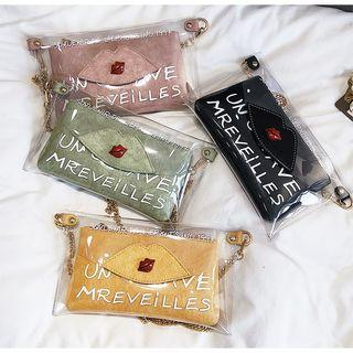 Transparent Lettering Chained Shoulder Bag