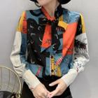 Bow Accent Printed Shirt