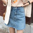 Raw-hem Denim Miniskirt