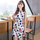 Dotted Floral Print Sleeveless Dress