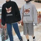 Couple Matching Long-sleeve Cat Printed Top