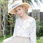 Long-sleeve Lace Cuff Floral Chiffon Top