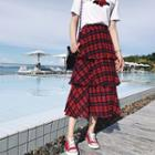 Tiered Plaid Midi Skirt