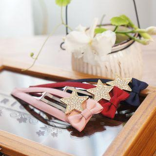 Rhinestone Star Bow Hair Clip