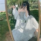 Floral Ruffle Strappy Dress/ Ruffle Plain Long Sleeve Shirt