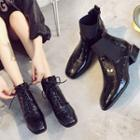 Low-heel Patent Ankle Boots