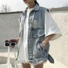 Distressed Denim Vest / Hooded Denim Vest / Wide Leg Denim Shorts