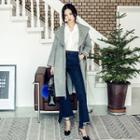 Wide-lapel Wool Blend Wrap Coat With Sash