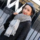 Plaid Fringed Scarf Black & White - One Size