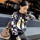 Printed Panel Pullover