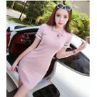 Short-sleeve Collared Knit Mini Bodycon Dress