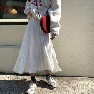 Asymmetric Midi A-line Pleated Skirt