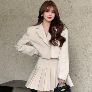 Double Breasted Jacket / Mini A-line Pleated Skirt