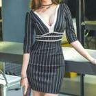 Striped Deep Plunge Elbow-sleeve Bodycon Dress