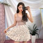 Inner Shorts Floral Accordion-pleat Miniskirt
