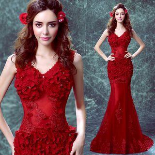 Sleeveless Applique Sheath Mermaid Evening Dress
