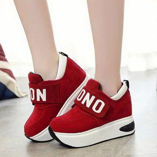 Letter Adhesive Strap Platform Sneakers