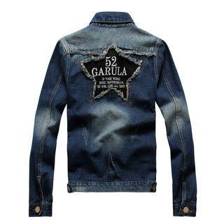 Applique Fringed Washed Denim Jacket
