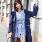 Ribbon Trim Hooded Long Jacket