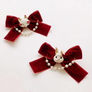 Alloy Rabbit Fabric Bow Hair Clip