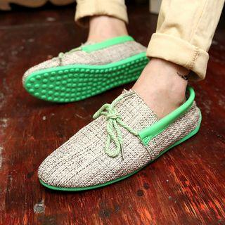 Contrast Trim Lace-up Fabric Casual Shoes