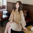 Balloon-sleeve Plaid A-line Dress / Knit Vest