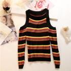 Cold Shoulder Striped Sweater