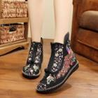 Floral Embroidery Ankle Boots