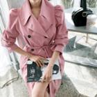 Puff-shoulder Belted Long Trench Coat