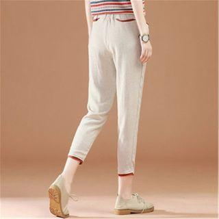 Cropped Straight-fit Linen Blend Pants