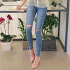 Washed Slit-knee Skinny Jeans